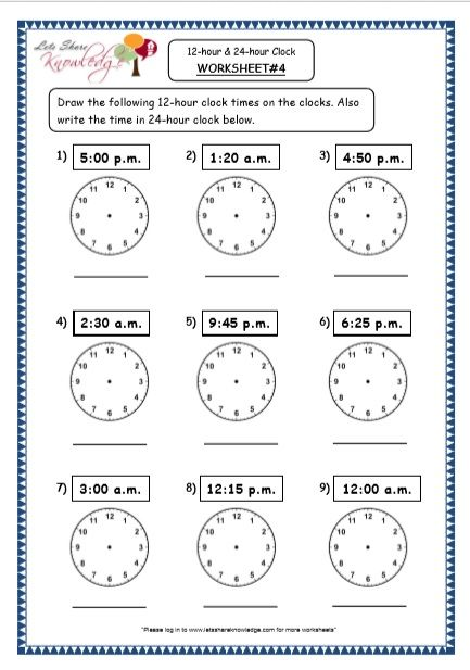 Grade 4 Maths Resources (7.1 Time - 12-hour & 24-hour Clock Printable  Worksheets) 24 Hour Clock Worksheets, Clock Worksheets, 24 Hour Clock