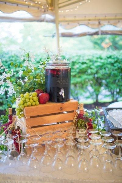 Homemade Sangria station with red wine and infused fruits