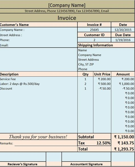 Download Excel Format of Tax Invoice in GST GST - Goods and - how to fill out invoice