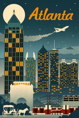 Atlanta, Georgia - Retro Skyline - Lantern Press Poster