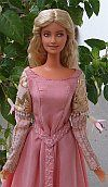 Princess bride OOAK pink belted dress for Barbie