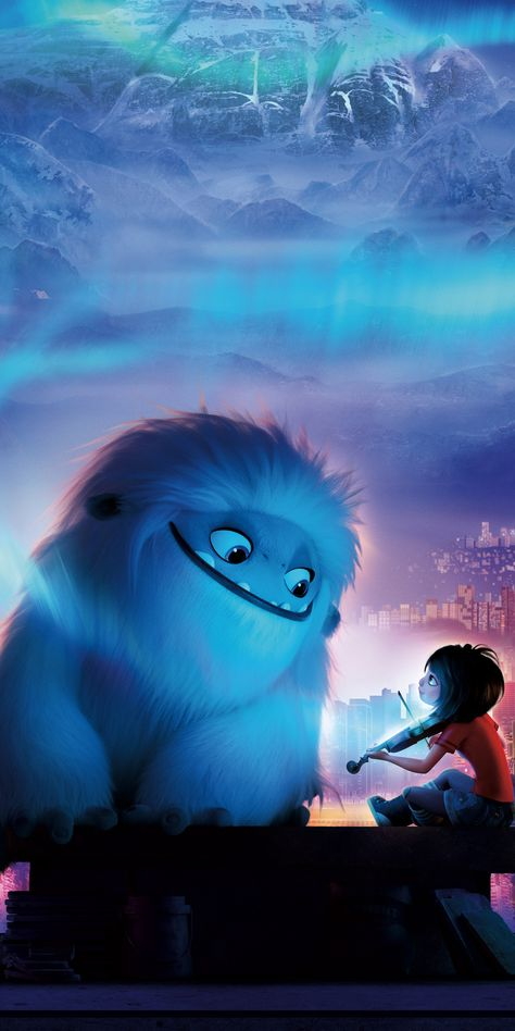 Abominable, yeti and boy, animation movie, 1080x2160 wallpaper