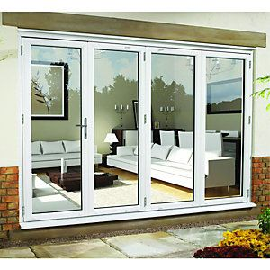 Wickes Millbrook Upvc External Bi Fold Door Set White 10ft Wide Right Opening In 2020 External Sliding Doors External Bifold Doors Sliding Patio Doors