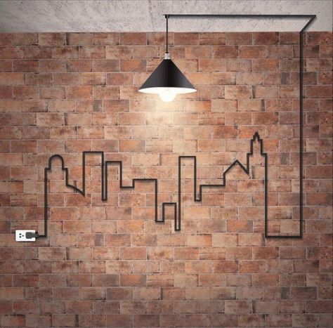 Legal ... backstein-tapete-wandgestaltung-industrial-design-industrielampe-kabel-stadt-silhouette-steckdose