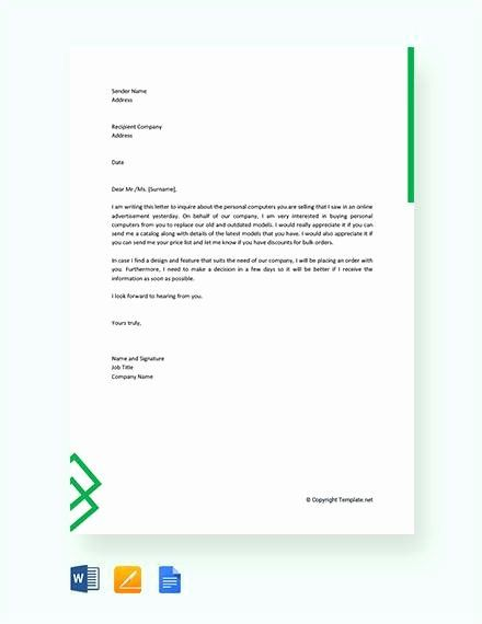 Letter Of Inquiry Template Lovely 8 Sample Business Enquiry Letters Word Pdf Business Letter Example Business Letter Template Letter Templates