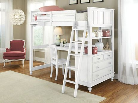 Lakeview Loft Bed Twin With Desk White Twin Size Loft Bed