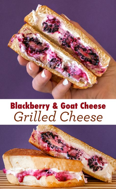 Goat Cheese Grilled Cheese: Feeling fancy Step up your grilled cheese game with blackberries and Goat cheese on Sara Lee Artesano Bread. Think Food, I Love Food, Good Food, Yummy Food, Tasty, Goat Cheese Recipes, Grilled Cheese Recipes, Sandwich Recipes, Salads With Goat Cheese