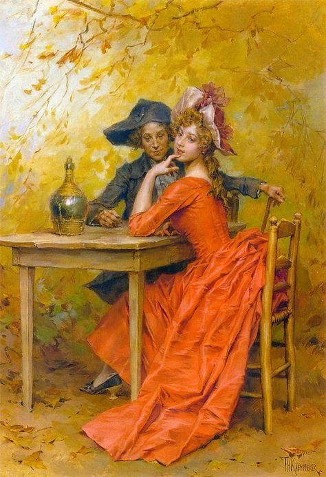 Frederick Hendrik Kaemmerer (Dutch, 1839-1902)  - The lady in red