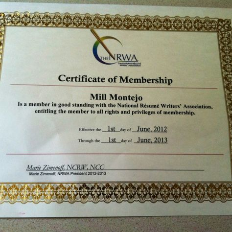 Membership Certificate National Resume Writers Association - resume writers
