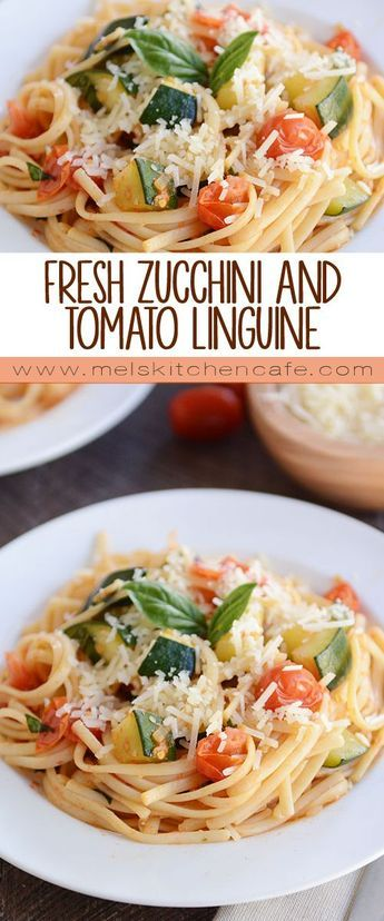 Zucchini and Tomato Linguine Meal) This garden fresh zucchini tomato linguine is bursting with flavor…AND it will only take or less to get it on the table. My kind of meal.This garden fresh zucchini tomato ling Pot Pasta, Pasta Dishes, Vegetarian Recipes, Cooking Recipes, Healthy Recipes, Raw Recipes, Orange Recipes, Tomato Linguine, Zucchini Tomato