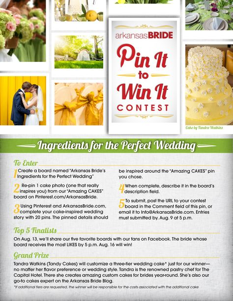 We invite you to take part in our new PIN it to WIN it contest: Ingredients for the Perfect Wedding!