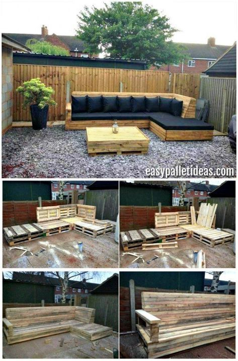 Pallet L Shaped Sofa For Patio Pallet Couch Pallet Sofa Pallet Ideas Pallet Furniture Pallet In 2020 Pallet Patio Furniture Pallet Garden Furniture Diy Patio