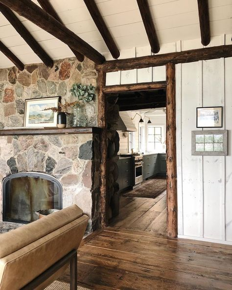 Here's a great angle of the Log Cabin. I'm standing in front of windows which look out to the lake, looking into the house. Can you see the… Lake Cabins, Cabins And Cottages, Cabin Homes, Log Homes, Log Home Interiors, Lake Cabin Interiors, Log Cabin Exterior, Rustic Cabin Decor, Rustic Cabins