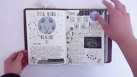 A look at my Book of shadows in my traveler's notebook. I show new and full moon spreads. Made using lots of stickers, washi tape, and stamps.