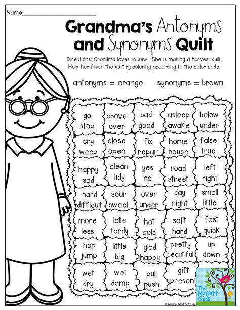 Grandma's Quilt - Antonyms and Synonyms! (Color by the code) This is a fun activity, allowing the students to color, but also they will show their understanding of synonyms and antonyms. Teaching Grammar, Teaching Language Arts, Classroom Language, English Language Arts, Language Activities, Student Teaching, Teaching Reading, Speech And Language, Teaching English