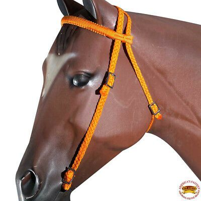 HILASON Orange Black Horse Breast Collar Braided Paracord Crystal Fringes