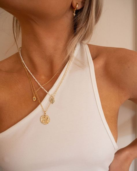 Dainty Jewelry, Simple Jewelry, Cute Jewelry, Women Jewelry, Dainty Gold Necklace, Sterling Silver Layered Necklace, Gold Coin Necklace, Real Gold Jewelry, Gold Plated Necklace