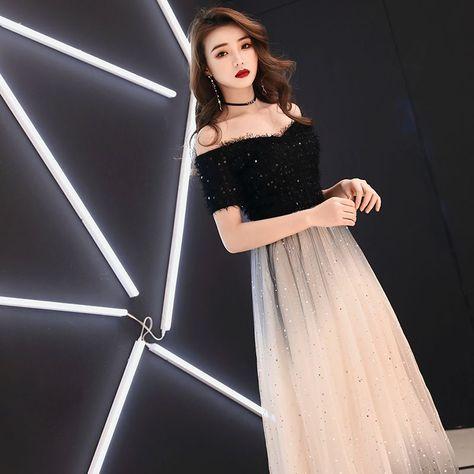 12acb04950 Eleganckie Czarne Sukienki Wieczorowe 2019 Princessa Przy Ramieniu Kutas  Cekiny Kótkie Rękawy Bez Pleców Długie Sukienki