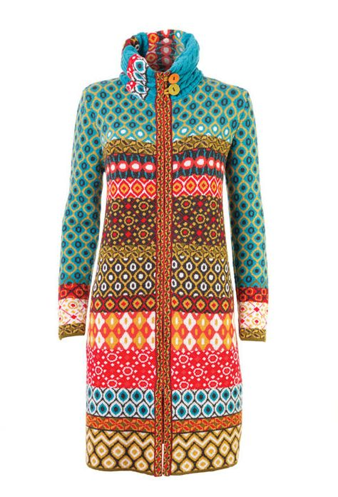 Coat, Geometric Pattern - Coat | Ivko Woman