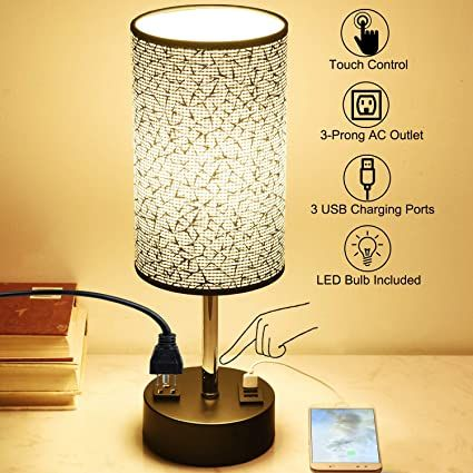 Touch Control Usb Table Lamp Dreamholder 3 Way Dimmable Bedside Desk Lamp With 3 Fast Usb Charging Ports And One P In 2020 Bedside Desk Lamps Led Bulb Nightstand Lamp