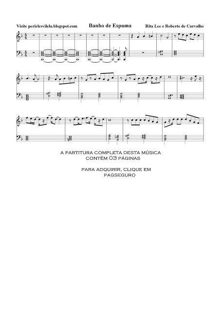 Partituras Musicais Banho De Espuma Rita Lee E Roberto De