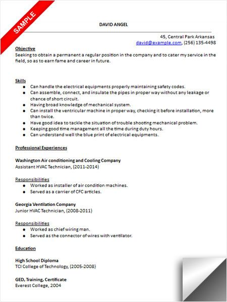 HVAC Technician Resume Sample Resume Examples Pinterest - receptionist resume objective examples