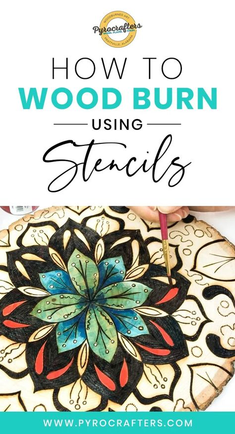 How to Wood Burn Using Stencils - Pyrocrafters Wood Burning Tips, Wood Burning Techniques, Wood Burning Crafts, Wood Burning Patterns, Wood Burning Projects, Wood Projects, Wood Craft Patterns, Wood Block Crafts, Wood Crafts