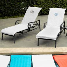 these monogrammed chaise lounge covers by peacock alley feature a diamond jacquard pattern and reverses to solid loop terry made in turkey of 10u2026