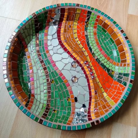 Mosaic Tiles Circles Swirls 3D pieces Red Pottery