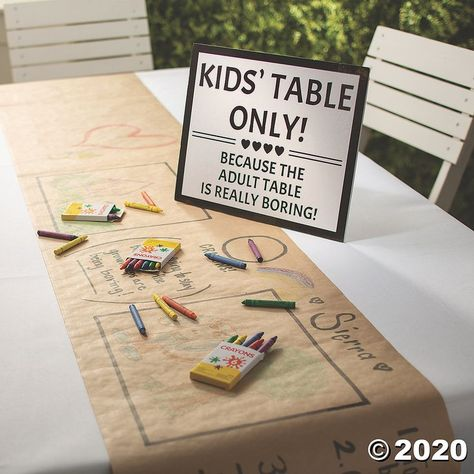 If you're designating a kids' table at your wedding reception, make sure it stands out with the help of this adorable wedding sign. Cute Wedding Ideas, Wedding With Kids, Kids Table Wedding, Creative Wedding Ideas, Fun Wedding Reception Ideas, Modern Wedding Ideas, Diy Wedding Signs, Inexpensive Wedding Ideas, Summer Wedding Ideas