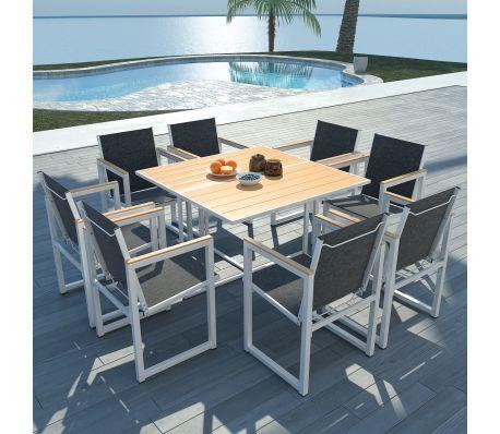 9 Tlg Garten Essgruppe Mit Wpc Tischplatte Aluminium Patio