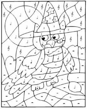 Color By Music Halloween Owl Owl Coloring Pages Halloween Coloring Pages Color By Number Printable