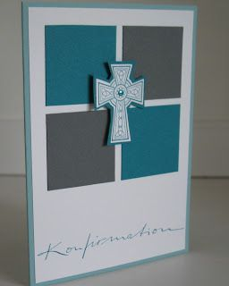 handmade confirmation card from stampin with beemybear ... elegant and formal look ... stamped celtic cross cut out and popped up on top of a twinchie 2X2 sqaures split panel ... deep gray and teal ... like this card!!