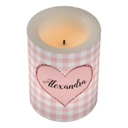 Valentine\'s Day Pink Heart Custom Monogram Flameless Candle ...