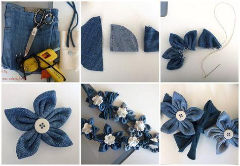 """Buongiorno! Eccomi con il secondo appuntamento per riciclare il vostro paio di jeans ^________^ Oggi utilizziamo le parti delle due """"cosce"""" per realizzare questa maxi collana. Ovviamente è a vostra discrezione, quanti fiori mettere e il diametro per realizzarli. Io volevo una cosa d'effetto e questa direi che svolge il suo compito a dovere! :-P Ecco il semplicissimo tutorial per realizzarla. Materiali: Le due """"cosce"""" dei vostri jeans/pantaloni Un metro di fettuccia/nastro/cordone Pannolenci…"""
