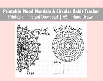 Mood Mandala & Circular Habit Tracker, Printable, Instant