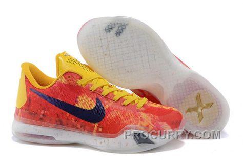 Nike Kobe 10 X EP Low Purple Gold Yellow Multi Men Basketball Shoes 745334