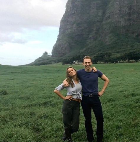 Brie and Tom on the set of Kong: Skull Island