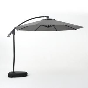 Hampton Bay 11 Ft Led Round Offset Outdoor Patio Umbrella In Chili Red Yjaf052 The Home Depot In 2020 Patio Umbrella Offset Patio Umbrella Cantilever Patio Umbrella