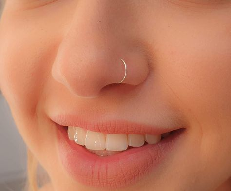 Tiny Sterling Silver Nose Ring Hoop 24 G Nose Piercing Rings – tiny silver nose… – Noise Piercing Cute Nose Piercings, Nose Piercing Jewelry, Fake Piercing, Body Piercings, Cute Nose Rings, Nose Stud Piercing, Pierced Nose, Nose Ring Jewelry, Tongue Rings