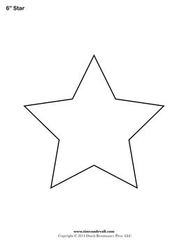 Star templates from 1-6 inches