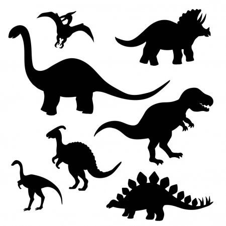 Set Of Black Dinosaur Silhouettes On White Background Stock Illustration Dinosaur Silhouette Animal Silhouette Black Silhouette