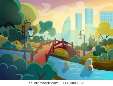 Bright Vector Image Of Summer Autumn Cartoon Park With Bridge Across Small River In Sparkles With City On Background Game Smooth Design