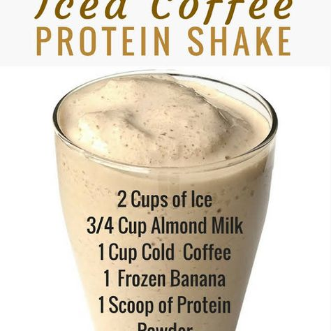 Iced Coffee Protein Shake Recipe, allergic, gotta replace banana with something (healthy coffee drinks diy) Protein Smoothies, Smoothie Proteine, Coffee Protein Smoothie, Coffee Smoothie Recipes, Milkshake Recipes, Smoothie Cleanse, Protein Pancakes, Milkshakes, Fruit Smoothies
