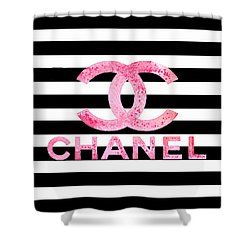 fedbf3fa8b9e Chanel Pink Logo On Stripes Shower Curtain for Sale by Del Art ...