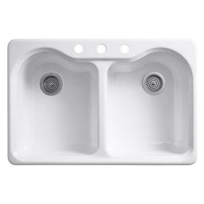 Kohler Kitchen Sink R5818 3 0 Hartland 33 In X 22 In White 2 Basin Cast Iron Drop In 3 Hole Residential Sink Cast Iron Kitchen Sinks Kitchen Sink