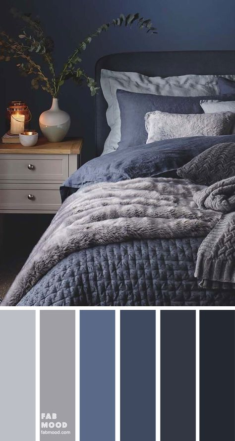 Blue, Charcoal and Grey Bedroom - Blue, Charcoal and Grey Bedroom Bedroom color scheme ideas will help you to add harmonious shades to your home which give variety and feelings of calm. From beautiful wall colors… Dark Blue Bedrooms, Blue Master Bedroom, Blue Rooms, Master Bedroom Makeover, Blue Gray Bedroom, Grey Bedroom Walls, Master Bedroom Color Ideas, Bedroom Wall Lights, Blue And Grey Bedding