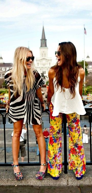i want the whole outfit on the right. those yellow pants are to die for!