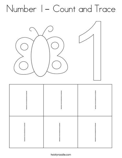 Number 1 Count And Trace Coloring Page Twisty Noodle Tracing Worksheets Preschool Kids Worksheets Preschool Numbers Preschool