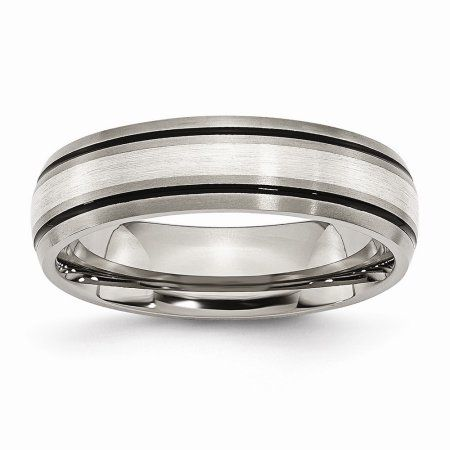 Bridal Titanium Sterling Silver Inlay Celtic Knot Flat 8mm Polished Band